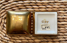 Rare Vtg Fitz and Floyd Gold Painted Trinket Box Stamp & Original Paper Label