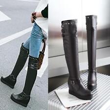 Womens Hidden Wedge Heel Over The Knee high Boots Platform Riding Rivets Shoes