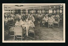 Shipping Cunard White Star RMS QUEEN MARY Tourist Dining Saloon c1930s? PPC