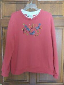 Breckenridge Womens Sweatshirt Fall Leaves Squirrels Appliqued Embroidered Sz XL