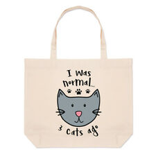 I Was Normal 3 Cats Ago Large Beach Tote Bag Funny Crazy Cat Lady Shoulder
