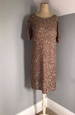 Jigsaw ~ brown, heavily sequinned, cruise / party / cocktail dress ~ S 10 / 12