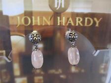 John Hardy Pink Rose Quartz Drop Dangle 18KY/G Sterling Silver Earrings NWOT