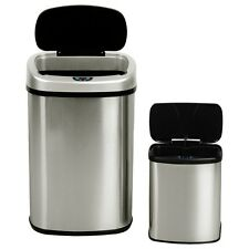 2 PCS Stainless Steel Trash Can Waste Disposal Bin Free Motion Sensor Automatic