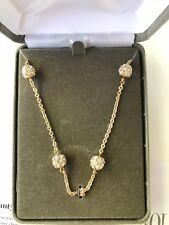 NOLAN MILLER NECKLACE ROUND Gold Tone Crystal Runaround Glamour Bead RARE