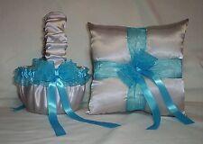 Silver Satin / Turquoise Trim Flower Girl Basket & Ring Bearer Pillow #1