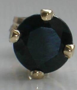 Brand New 5mm .60ct Black Sapphire Mens Single 9ct Gold Stud Earring