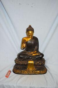 S.gr.Bronze-Buddha (Amitabha) auf Lotussockel, Tibet, teils vergoldet, 39cm