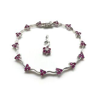 """18k 750 White Gold Slim Petite Ruby Bracelet 6"""" Flower Pendant Set"""