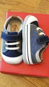 New Smaller by See Kai Run,Stevie II blue denim canvas early walkers shoes,3,NIB
