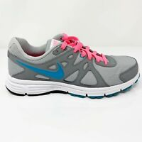 Nike Womens Revolution 2 554902-006 Gray Pink Running Shoes Lace Up Size 9.5