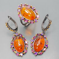 Amber Ring Silver 925 Sterling SET Handmade Size 7.75 /R129178