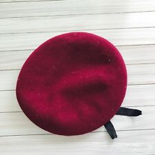 Dark Red 100% Wool Military Style Black Trim Beret Hat Cap Size 7 1/8 Sri Lanka