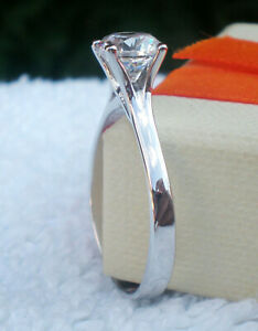 Ring Size Y White Stone 6.50mm Solitaire  Ladys 925 Sterlyng Silver