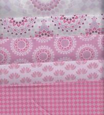 CLEARANCE - Lotus Pink Half Metre Bundle - 100% cotton - 5 pieces 50 x 110cm