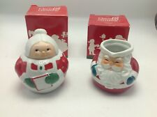 Avon Claus & Co Vintage 1983 Santa Mrs Claus Sugar & Creamer Porcelain Christmas