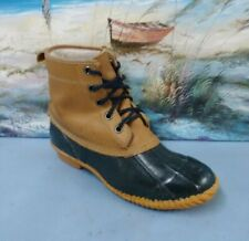 Sno Racer wOmens Black/Brown Leather Steel Shank Duck Boots Sz 8