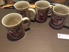 """1984 Lucy Rigg """"Lucy and Me"""" Christmas Coffee Mug Set Of 4"""