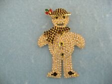 Scarf Brooch Or Pin With Crystals Gold Toned Snowman With Hat And