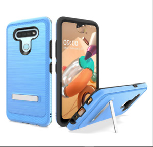 For LG K51 Phone Case, Slim Kickstand Shockproof Cover+Tempered Glass Protector