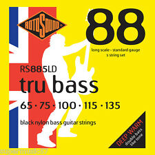 Rotosound RS885LD Black Nylon Tru 5- String Bass Guitar Strings Flatwound 65-135