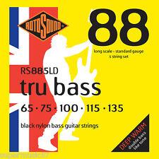 Rotosound RS885LD Black Nylon Tru 5- String Bass Guitar Strings Flatwound 65-135
