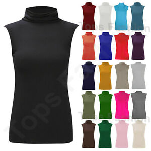 Ladies Women Basic Sleeveless Vest Top Summer Blouse Tank Polo Jersey T Shirt UK