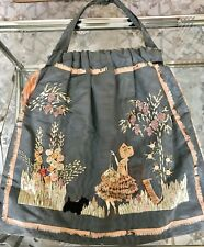ANTIQUE LARGE SEWING BAG EMBROIDERED & APPLIQUES Girl in the Garden Sewing