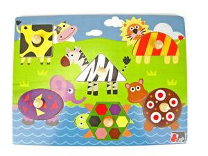 Wooden knob Shape Animal puzzle by Kaper Kids 10mths+