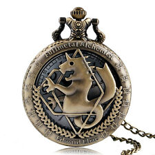 Retro Fullmetal Alchemist Bronze Necklace Mens Quartz Pocket Watch Anime Gift