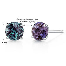 14K  White Gold 1.8 Ct Lab Alexandrite Stud Earrings 4 Prong Round Cut 6 mm