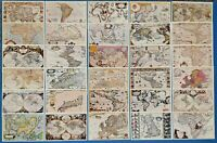Collection of 30 Vintage Antique Reproduction Map Postcards, Made in the UK