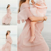 Women Pregnant Dress Maternity Photography Props Short Sleeve Solid Dress