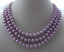 8mm Purple South Sea Shell Round Pearl Beads Necklace 36""
