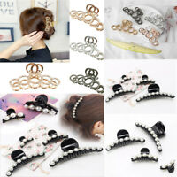 Fashion Women's Large Plastic Pearl Hair Claw Clamp Clips Shower Hairpin Acces