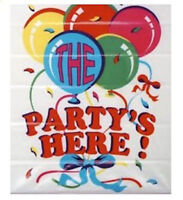 """The Party's Here!"" Jumbo Hanging Poster - Door Banner Birthday Celebration"