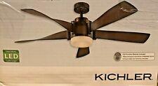 Kichler 52 in. Mediterranean Walnut Finish Brushed Bronze Ceiling Fan LED Remote