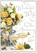 Wife Golden 50th Wedding Anniversary Card ~ Luxury Card ~ Verse ~ Made In UK