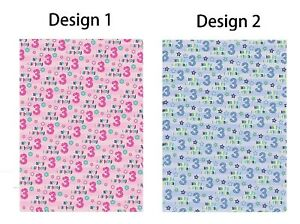 2 x 3rd Birthday Wrapping Paper Sheets/ Age 3 Giftwrap Boy Blue / Girl Pink (PA)
