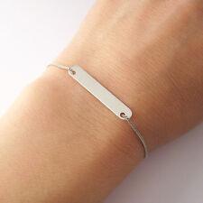 Bracelet barrette plaque rectangulaire en argent massif 925 BR82