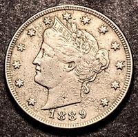 1889 Liberty V Nickel 5c Semi Key Date High Grade AU Details Obsolete Type Coin