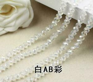 Faceted Rondelle Bicone Glass Crystal Loose DIY Beads Assorted 8mm 34pc white AB