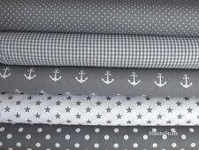 Stoffpaket in grau, 5 Stoffstücke, Stoff Anker, Sterne , Breite 140cm