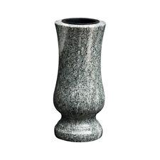 Grabvase Granit Friedhofsvase Vase  Grabschmuck - VERDE MARINA + 2 Vaseneinsätze