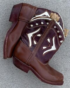 Vintage Cowboy Boots Sheriff Cloth Pulls Leather Inlaid Toddler Kids Western