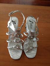 Pierre Fontaine Silver Strappy Heels Stillettos Size 6