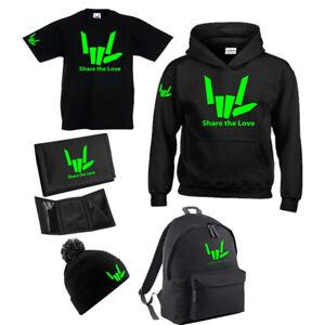 SHARE THE LOVE  Kids Hoodie, T-shirt, Wallet, Backpack, Beanie Fluorescent Green