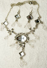 vintage style jewelry set clear crystal necklace match earrings Silver tone set