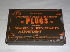 VINTAGE JFD PORTABLE RADIO BATTERY PLUGS DEALERS & SERVICEMENS ASST  METAL BOX