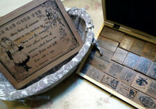 22 Retro Wood Rubber Stamps Box Set - Vintage Style Victorian Sewing Fashion